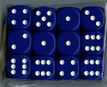 Twelve 6-sided Spot Dice: Dark Blue with White Spots